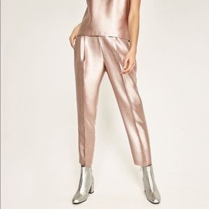 nwt // zara metallic rose gold trouser pants